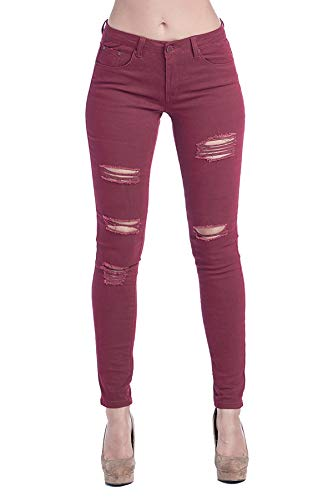 Blue Age Womes Destroyed Super Stretch Skinny Jeans High Rise (JP0060T-A_Wine_5)