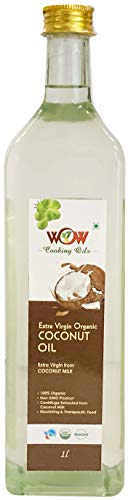 Wow Cooking OILS 100 % Pure Organic Extra Virgin Cold Pressed Coconut Oil  Glass Bottle   1000 ml