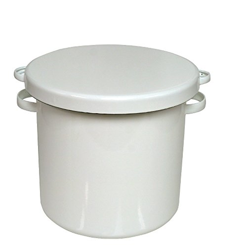 [노다호로 법랑] 화이트 시리즈 라운드 스토커 24cm, 쌀 약 8kg, 폭 31cm (손잡이 포함) / 깊이 27cm / 높이 24.5cm (뚜껑 포함), 무게 : 약 2.2kg 용량 : 10L