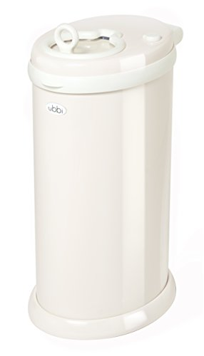 Ubbi Money Saving, No Special Bag Required, Steel Odor Locking Diaper Pail, Ivory