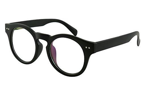 Beison Horn Rimmed Round Eyeglasses Frame Clear Lens 46mm (Matte black, 46)