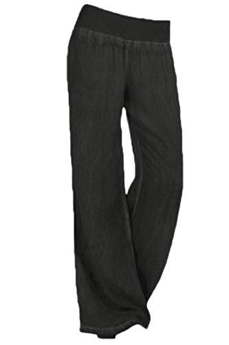yulinge Las Mujeres Jeans Cintura Elastica Loose Denim Pantalones Largos Plus Size Black