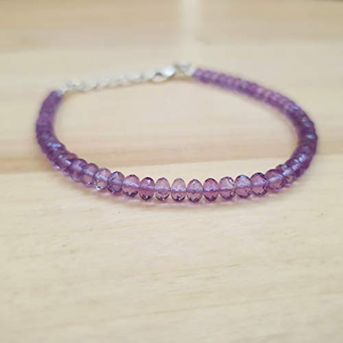 Natural Amethyst Roundel Beads Bracelet with Sterling Silver Findings February Birthstone ()