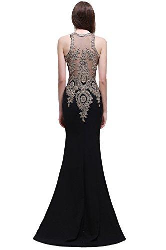 Schwarz Langes MisShow Ärmellos Ballkleid Gr 32 Damen Elegant Abschlusskleid Lang Kleid Etui 46 Abendkleid Meerjungfrau 006qH