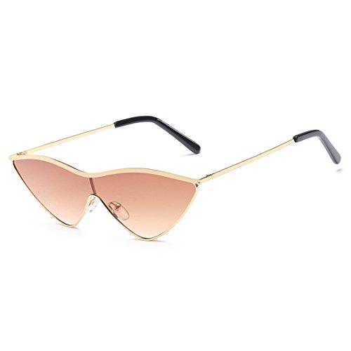 Dorado gafas Aiweijia lente uv400 pieza de sol dama mujer mujeres pequeñas ojo de gato metal verde rosa sol de gafas una de Marrón Triangle gPxnwqrgf