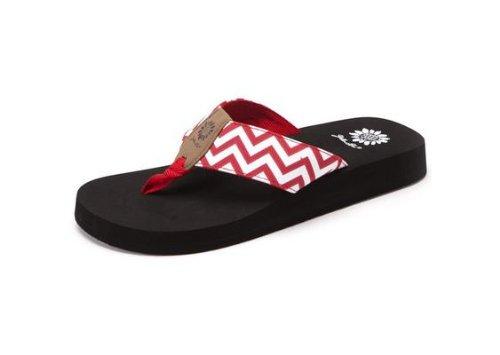 Yellow Box Women's Yulisa Chevron Thong EVA Sandals Shoes Red Size 7