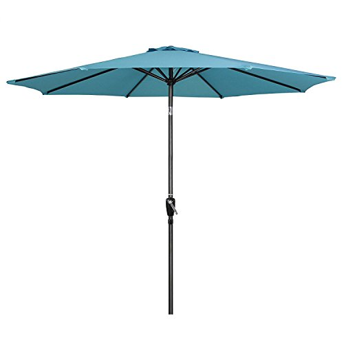 G-House 9 Ft Garden Patio Umbrella Outdoor Table Umbrella with Push Button Tilt and Crank, Sturdy Steel, 8 Ribs (Sky Blue) Review