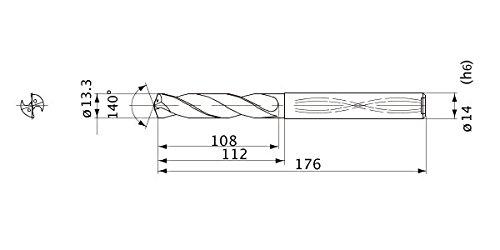 14 mm Shank Dia. Internal Coolant 2.4 mm Point Length 5 mm Hole Depth Mitsubishi Materials MWS1330LB MWS Series Solid Carbide Drill 13.3 mm Cutting Dia