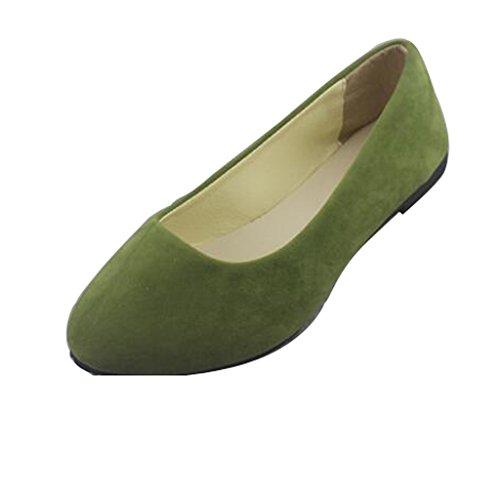 Lieber Zeit Frauen Flache Schuhe Bequeme Slip On Spitz Ballerinas Armeegrün