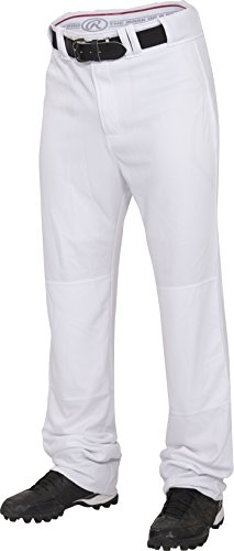 Rawlings  Men's Straight Fit Pants Unhemmed, Medium, White (Pant Unhemmed Baseball)