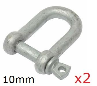 10MM GALVANISED DEE D SHACKLES LINK CHAIN CONNECTOR TOWING LIFTING X2 Towlow