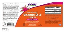Now Foods, Vitamin D 1000iu, 180 Softgels
