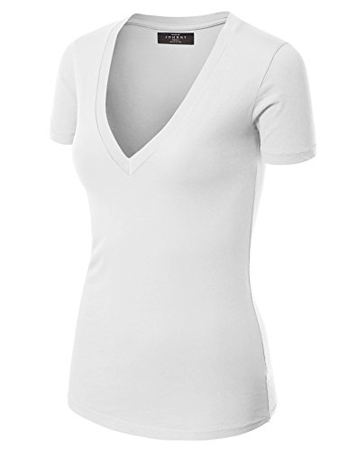 Made By Johnny WT3 Womens Basic Fitted Soft Short Sleeve Deep V Neck T Shirt XXL White