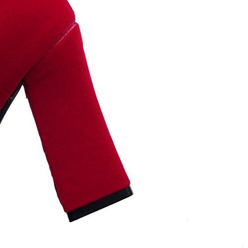 AllhqFashion Damen Rein Niedrig-Spitze Metallisch Reißverschluss Stiefel Rot