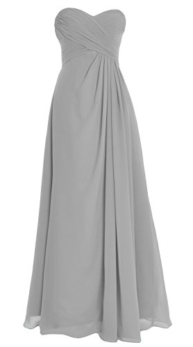 Evening Dress Gown Long Silver Chiffon Bridesmaid Macloth Strapless Party Wedding Women XFwPO0