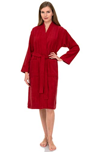 TowelSelections Terry Kimono Bathrobe - Terry Cloth Bath Robe for Women and Men, 100% Turkish Cotton, Made in Turkey (Red, S/M)