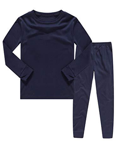 KikizYe Kids Pajamas Boys & Girls Solid Colors 2 Piece Pajama Set 100% Cotton Infant Blue Size 18-24 Monthes