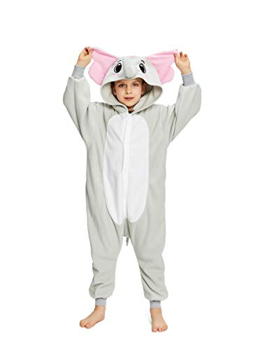 NEWCOSPLAY Unisex Children Animal Pajamas Halloween Costume (115#, Gray Elephant)]()
