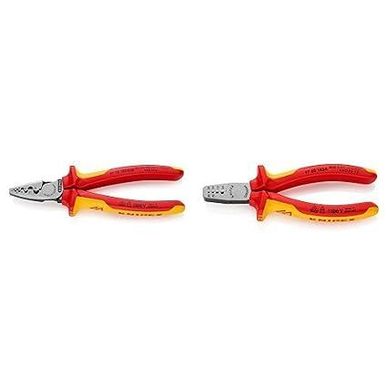 Knipex 97 78 180 - Alicate Para Entallar Punteras + 97 68 145 A - Alicates