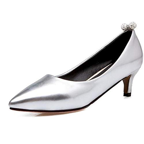 ZHZNVX Zapatos de Mujer Synthetics Spring Comfort Heels Stiletto Heel Black/Silver / Pink Black