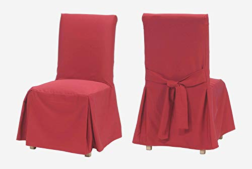 Solid Cotton Chair Slipcover Dining (Classic Slipcovers CSI Cotton Duck Long Dining Chair Slipcover, Red)