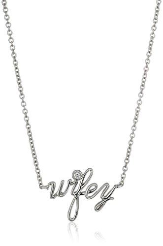 Platinum-Plated Sterling Silver Swarovski Zirconia wifey Pendant Necklace, 16 2 Extender