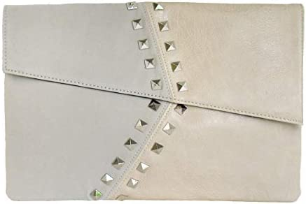 Synthetic Leather//Suede Block Stud Envelope Clutch
