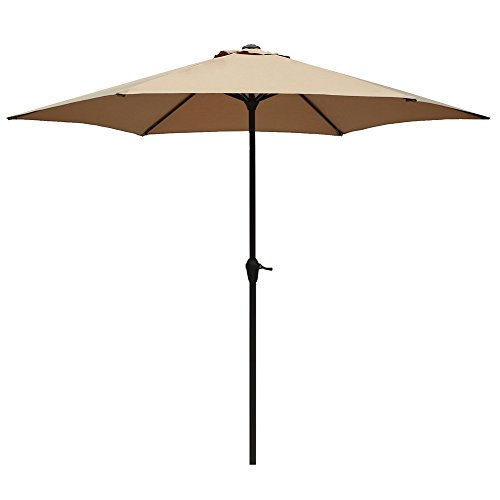 Le Papillon 9 ft Outdoor Patio Umbrella Aluminum Table Market Umbrella 6 Ribs Crank Lift Push Button Tilt, Beige (9' Outdoor Square Patio Market)