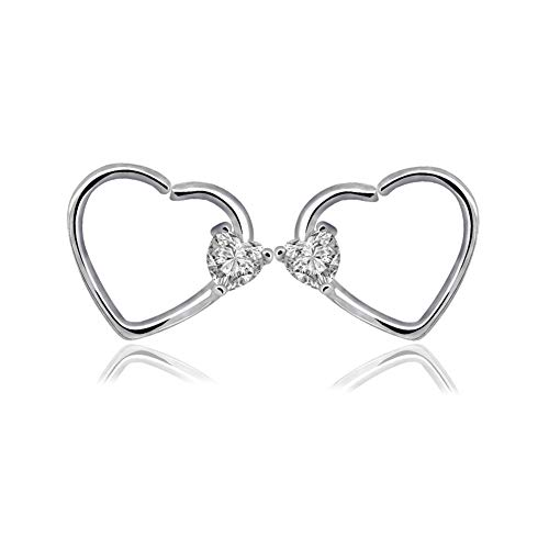 2 Pcs 16 Gauge Love Heart Butterfly Sharped Right Closure Daith Cartilage Tragus Helix Earrings CZ Helix Tragus Daith Nose Piercing Rings for Women Girls Body Piercing Jewelry (D1:CZ Heart) -