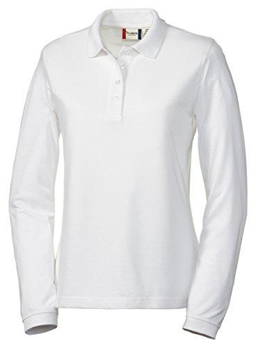 Pique Polo Collar Shirt - Clique Women's Knit Collar Pique Polo Shirt, White, Small