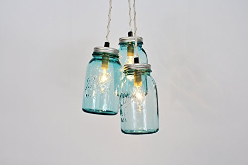 Mason Jar Chandelier Pendant Light, 3 Vintage Aqua Blue Jars by BootsNGus