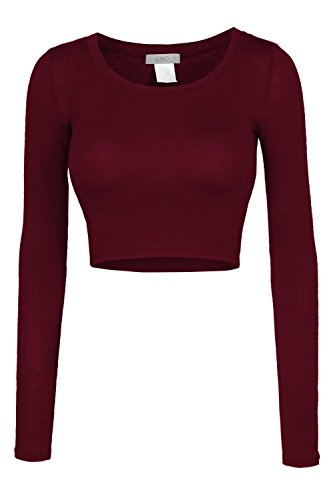 LE3NO Womens Fitted Long Sleeve Crop Top with Stretch, L3NWT1073_BURGUNDY, (Gretchen Weiners Costume)