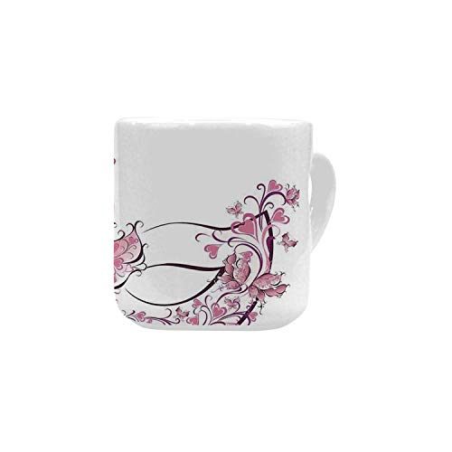 Masquerade White Heart Shaped Mug,Masks Carnival Dress Centuries Old Tradition of Venice Theme Design Print for Home,2.56