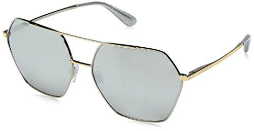 Dolce & Gabbana Women's DG2157 Silver/Gold/Light Grey Silver Mirror Sunglasses by Dolce & Gabbana