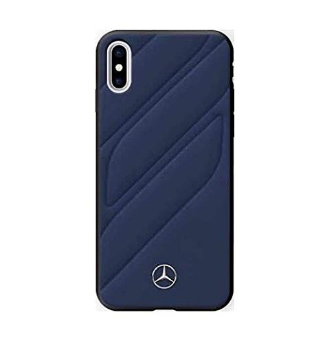 Mercedes Benz New Organic I Genuine Leather Hard Case for iPhone X Blue