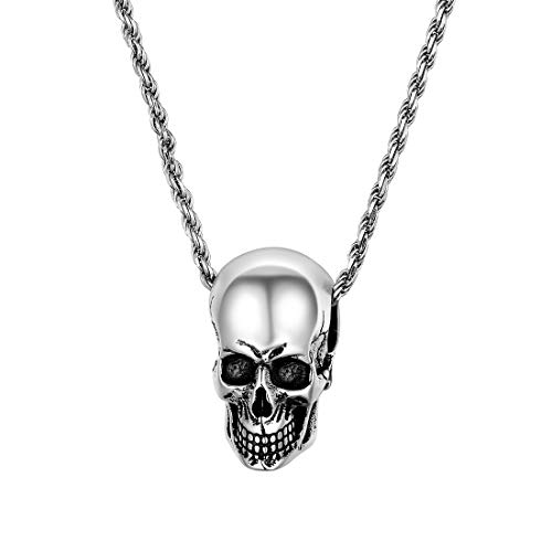 (U7 925 Sterling Silver 1.6mm Rope Chain with Vintage Silver Black Skull Pendant Necklace for Men, 28