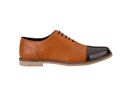 Jacksin - Zapatos de cordones de Piel para hombre marrón marrón
