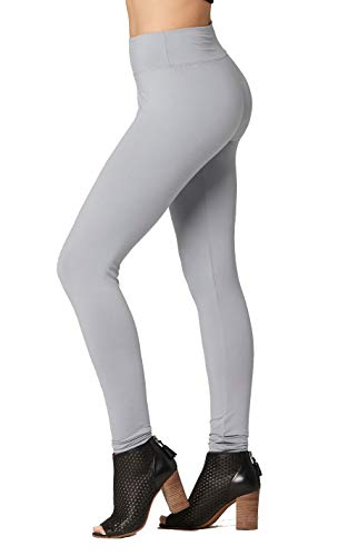 Lightweight Spandex Tights - Conceited Super Soft High Waisted Leggings for Women - Full Length Grey - Small/Medium (0-10)