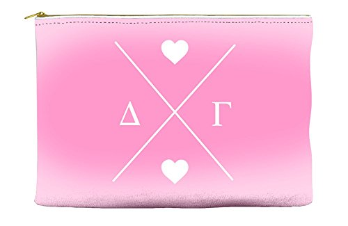 Delta Gamma (DG) Hipster Logo Pink Cosmetic Accessory Pouch Bag for Makeup Jewelry & other Essentials (Dg Logo)