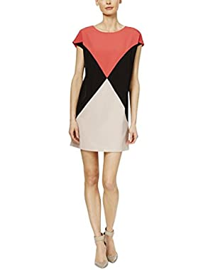 Womens Colorblock Cap Sleeves Wear to Work Dress
