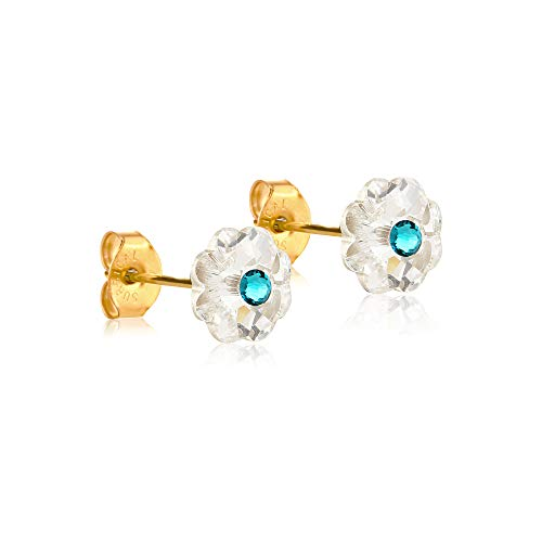 6mm Stud Earrings for Women & Girls| Swarovski Flower Crystals, 14K Gold Plated| Made With Hypoallergenic, Surgical Stainless Steel| Jewelry Gifts by Clecceli (Clear & Teal)