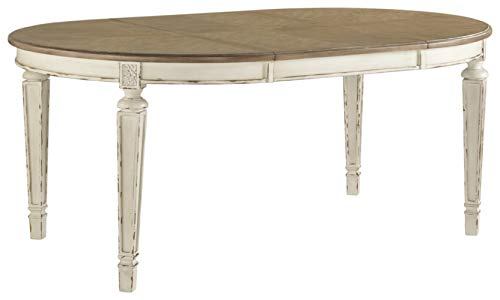 Signature Design by Ashley D743-35 Realyn Dining Room Table, Chipped White (Black Table Extension)