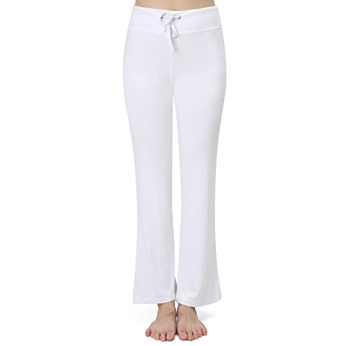 Price comparison product image RoxZoom Women's Modal Bootcut Yoga Pants, Super Soft Modal Comfy Spandex Slim Slacks Flare Bootleg Pants, Size X-Large - White