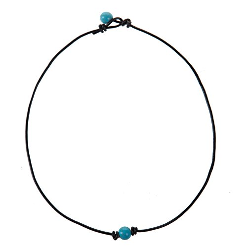 The Feeling Choker Necklace on Genuine Leather Cord Turquoise Necklace Handmade Jewelry for Women 16