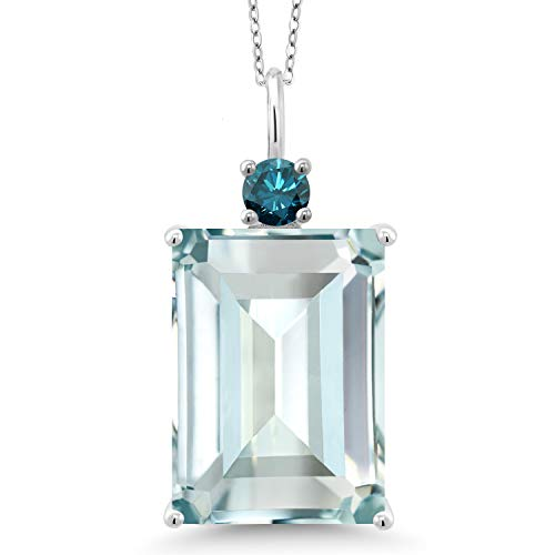 Gem Stone King 16.07 Ct Sky Blue Simulated Aquamarine Blue Diamond 925 Sterling Silver Pendant