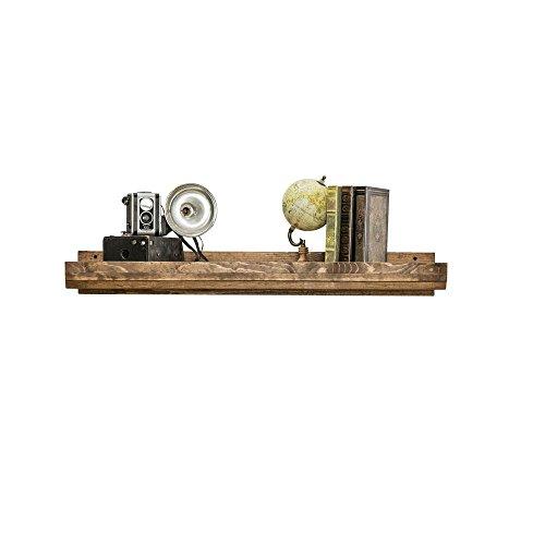 Rustic Wooden Single Floating Shelf Optional Additions (Walnut, 36 -