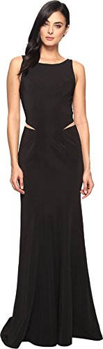 Black Faviana Dress (Faviana Women's Ottoman Scoop Neck w/Illusion Cut Out 7987 Black Dress)
