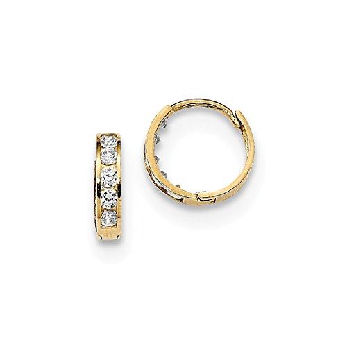 Wedding 14k Hoop Gold Band (14k Yellow Gold 2mm Cubic Zirconia Cz Huggie Hoops Hoop Fine Jewelry For Women Gift Set)