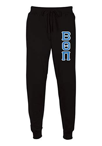- Fashion Greek Beta Theta Pi Embroidered Twill Letter Joggers Black Blue XXX-Large