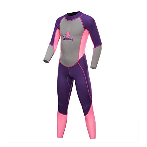 Kids Wetsuit One Piece Neoprene Long Sleeve Surfing Diving Wetsuit Full Body UV Protection Thermal Swimsuit CapsA